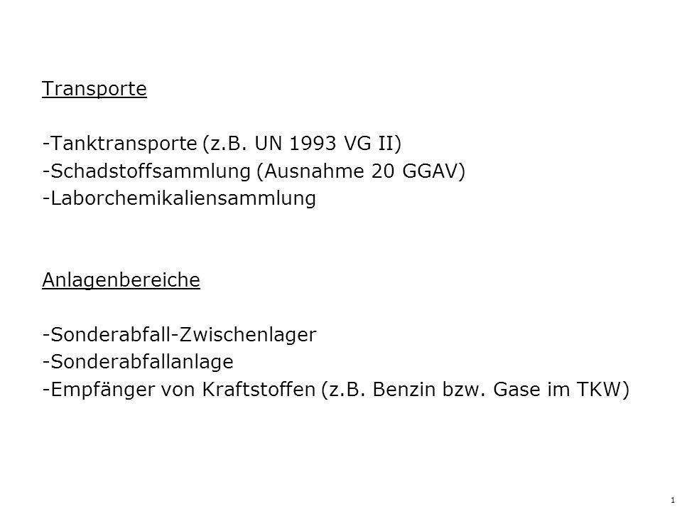 1 Transporte -Tanktransporte (z.B. UN 1993 VG II) -Schadstoffsammlung (Ausnahme 20 GGAV) -Laborchemikaliensammlung Anlagenbereiche -Sonderabfall-Zwisc