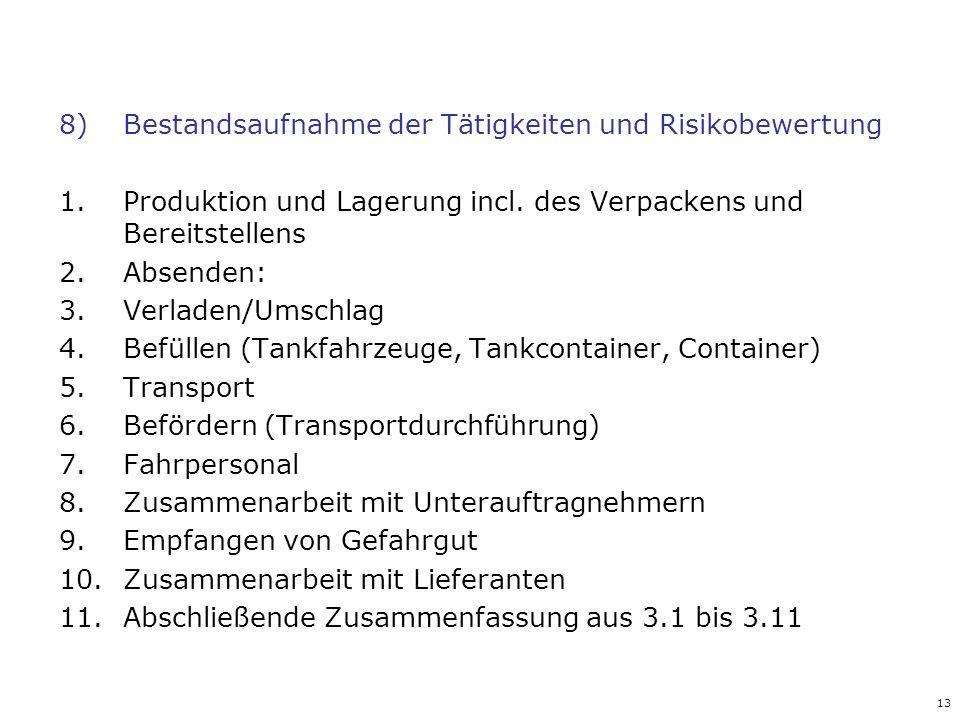 13 8)Bestandsaufnahme der Tätigkeiten und Risikobewertung 1.Produktion und Lagerung incl. des Verpackens und Bereitstellens 2.Absenden: 3.Verladen/Ums