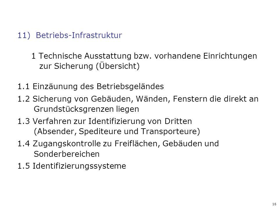 16 11)Betriebs-Infrastruktur 1 Technische Ausstattung bzw. vorhandene Einrichtungen zur Sicherung (Übersicht) 1.1 Einzäunung des Betriebsgeländes 1.2