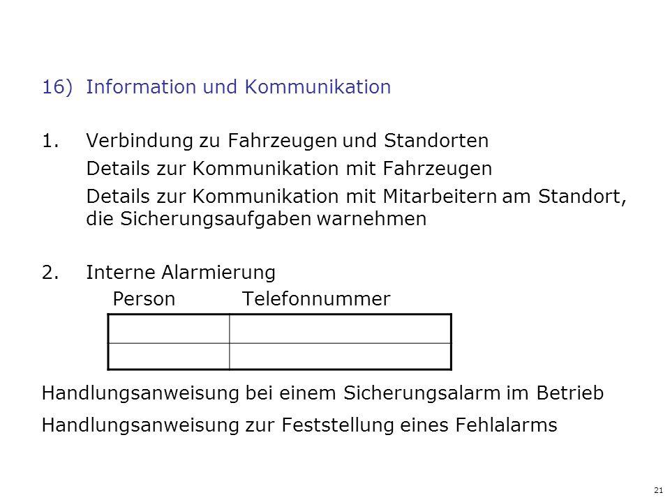 21 16)Information und Kommunikation 1.Verbindung zu Fahrzeugen und Standorten Details zur Kommunikation mit Fahrzeugen Details zur Kommunikation mit M