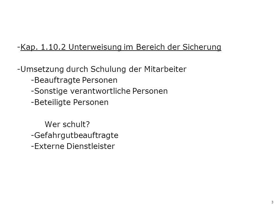 3 -Kap. 1.10.2 Unterweisung im Bereich der Sicherung -Umsetzung durch Schulung der Mitarbeiter -Beauftragte Personen -Sonstige verantwortliche Persone