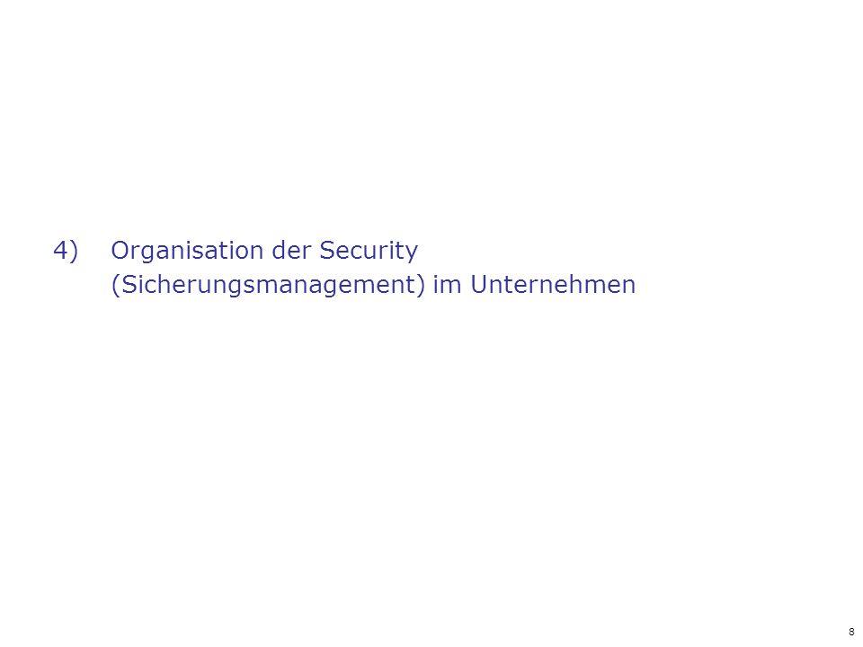 8 4)Organisation der Security (Sicherungsmanagement) im Unternehmen