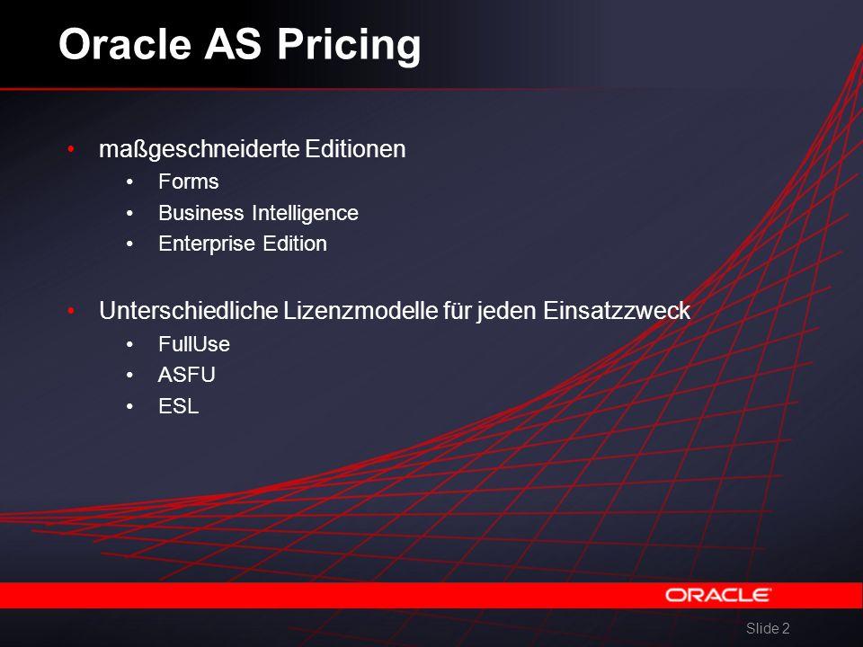 Slide 2 Oracle AS Pricing maßgeschneiderte Editionen Forms Business Intelligence Enterprise Edition Unterschiedliche Lizenzmodelle für jeden Einsatzzweck FullUse ASFU ESL