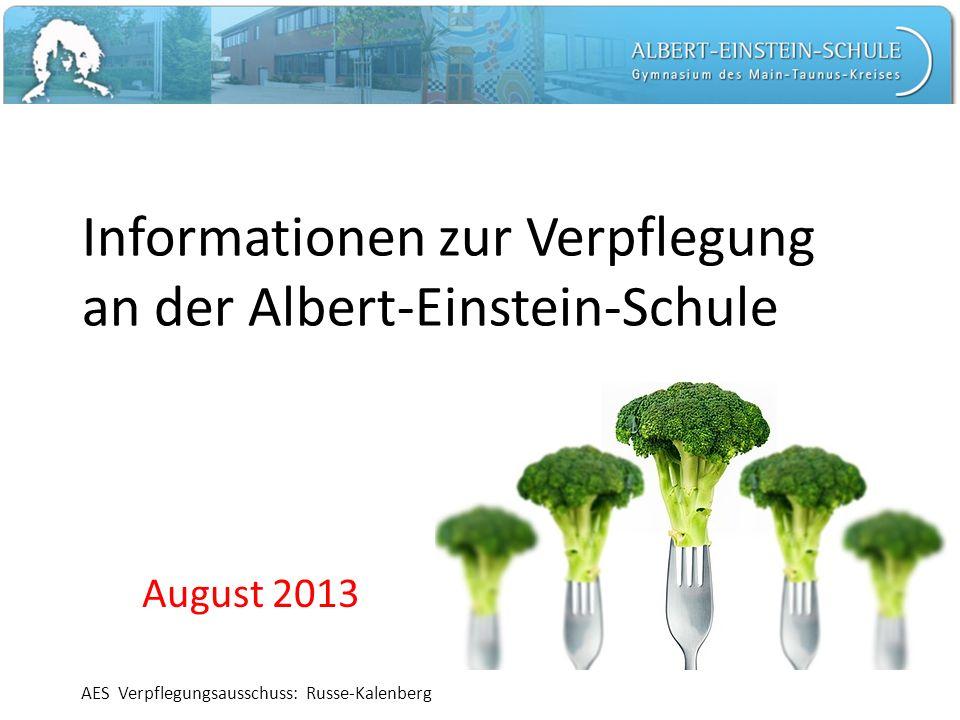Informationen zur Verpflegung an der Albert-Einstein-Schule August 2013 AES Verpflegungsausschuss: Russe-Kalenberg