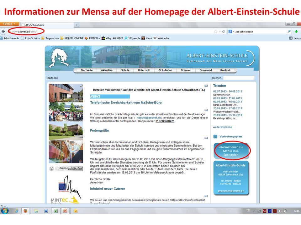 Informationen zur Mensa auf der Homepage der Albert-Einstein-Schule