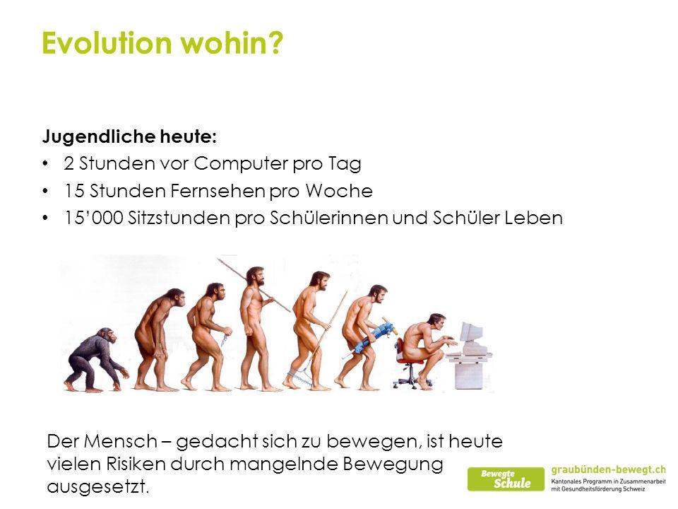 Evolution wohin? Jugendliche heute: 2 Stunden vor Computer pro Tag 15 Stunden Fernsehen pro Woche 15000 Sitzstunden pro Schülerinnen und Schüler Leben
