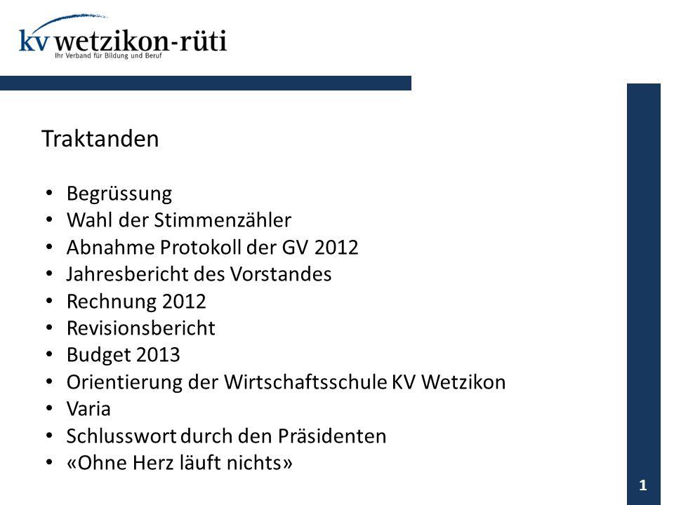 Begrüssung Wahl der Stimmenzähler Abnahme Protokoll der GV 2012 Jahresbericht des Vorstandes Rechnung 2012 Revisionsbericht Budget 2013 Orientierung d