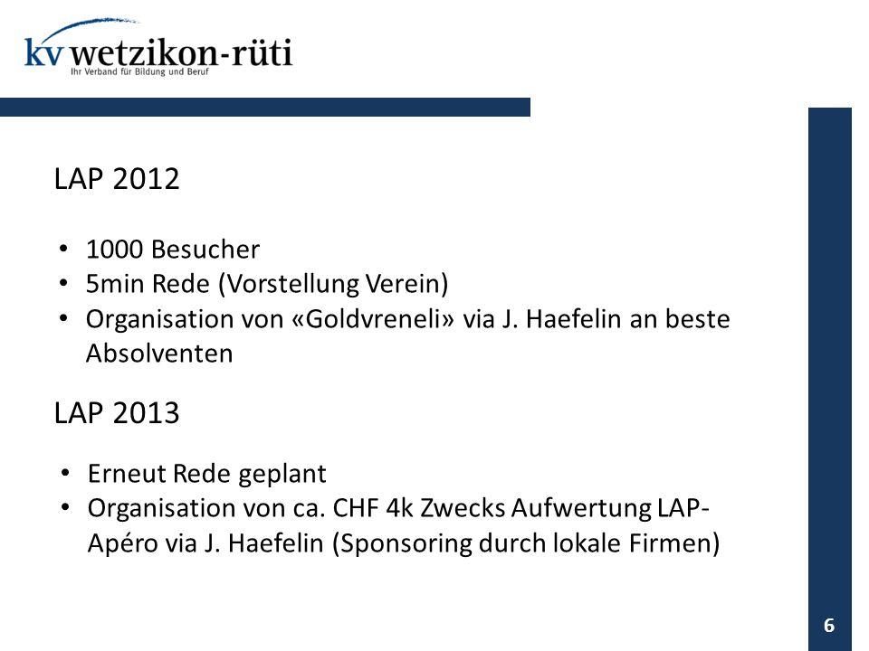 1000 Besucher 5min Rede (Vorstellung Verein) Organisation von «Goldvreneli» via J. Haefelin an beste Absolventen 6 LAP 2012 LAP 2013 Erneut Rede gepla
