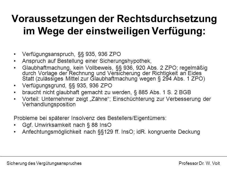 Voraussetzungen der Rechtsdurchsetzung im Wege der einstweiligen Verfügung: Verfügungsanspruch, §§ 935, 936 ZPO Anspruch auf Bestellung einer Sicherun