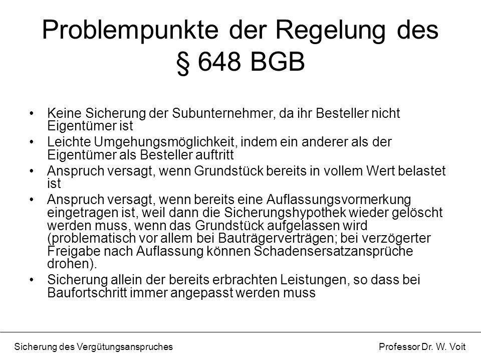 Problempunkte der Regelung des § 648 BGB Keine Sicherung der Subunternehmer, da ihr Besteller nicht Eigentümer ist Leichte Umgehungsmöglichkeit, indem