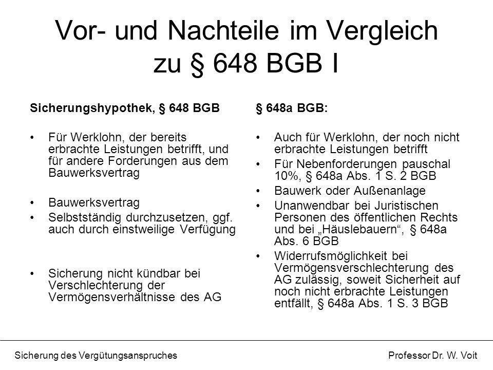 Vor- und Nachteile im Vergleich zu § 648 BGB I Sicherungshypothek, § 648 BGB Für Werklohn, der bereits erbrachte Leistungen betrifft, und für andere F