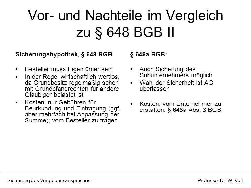 Vor- und Nachteile im Vergleich zu § 648 BGB II Sicherungshypothek, § 648 BGB Besteller muss Eigentümer sein In der Regel wirtschaftlich wertlos, da G
