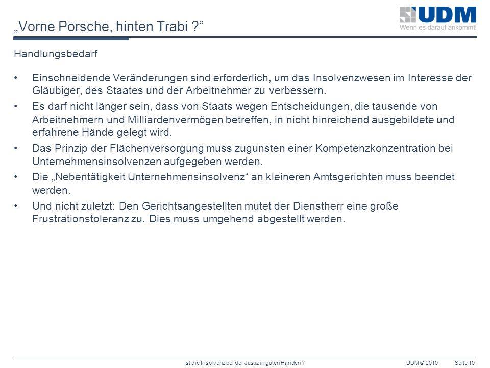 Ist die Insolvenz bei der Justiz in guten Händen ?UDM © 2010Seite 10 Vorne Porsche, hinten Trabi ? Handlungsbedarf Einschneidende Veränderungen sind e