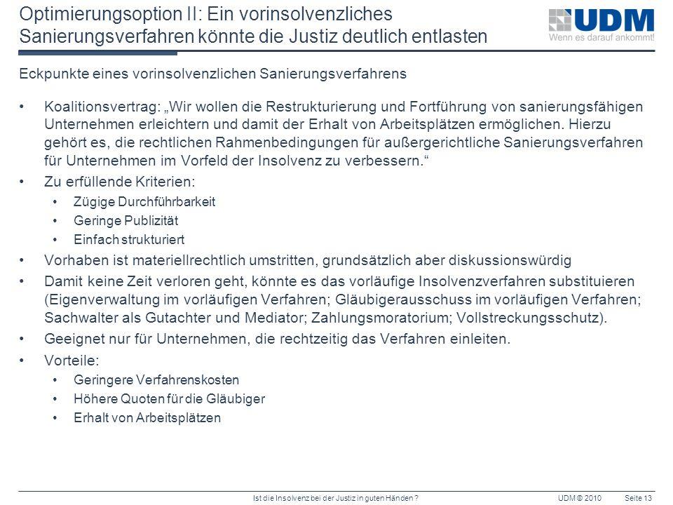 Ist die Insolvenz bei der Justiz in guten Händen ?UDM © 2010Seite 13 Optimierungsoption II: Ein vorinsolvenzliches Sanierungsverfahren könnte die Just