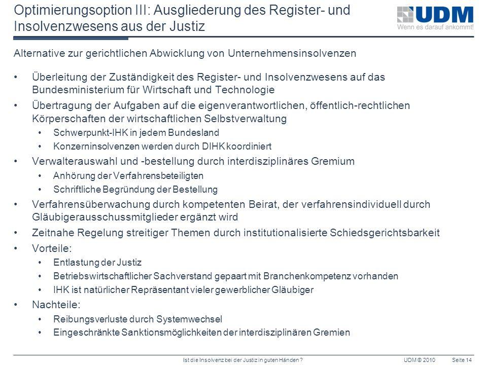 Ist die Insolvenz bei der Justiz in guten Händen ?UDM © 2010Seite 14 Optimierungsoption III: Ausgliederung des Register- und Insolvenzwesens aus der J