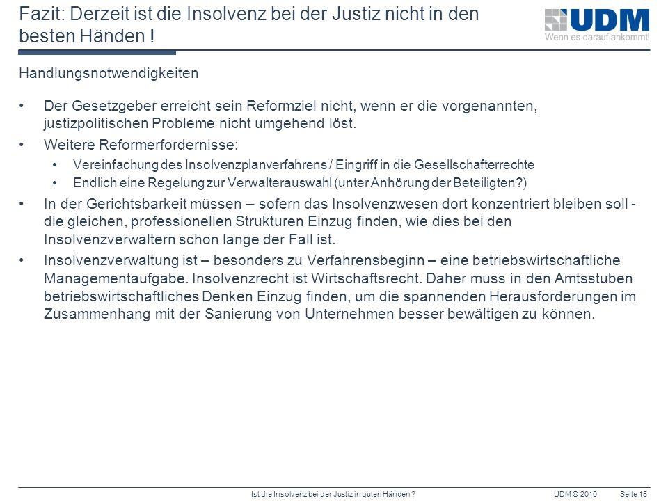Ist die Insolvenz bei der Justiz in guten Händen ?UDM © 2010Seite 15 Fazit: Derzeit ist die Insolvenz bei der Justiz nicht in den besten Händen ! Hand