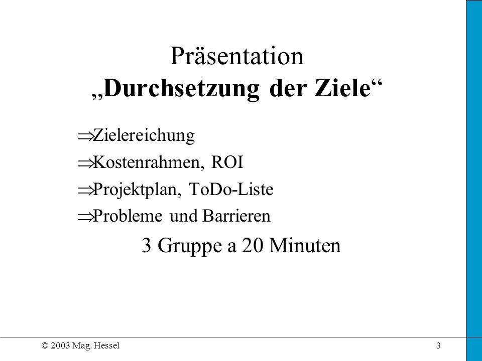© 2003 Mag. Hessel3 PräsentationDurchsetzung der Ziele Zielereichung Kostenrahmen, ROI Projektplan, ToDo-Liste Probleme und Barrieren 3 Gruppe a 20 Mi