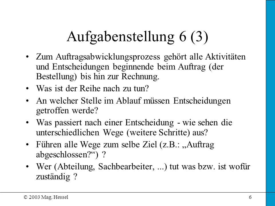 © 2003 Mag. Hessel6 Aufgabenstellung 6 (3) Zum Auftragsabwicklungsprozess gehört alle Aktivitäten und Entscheidungen beginnende beim Auftrag (der Best