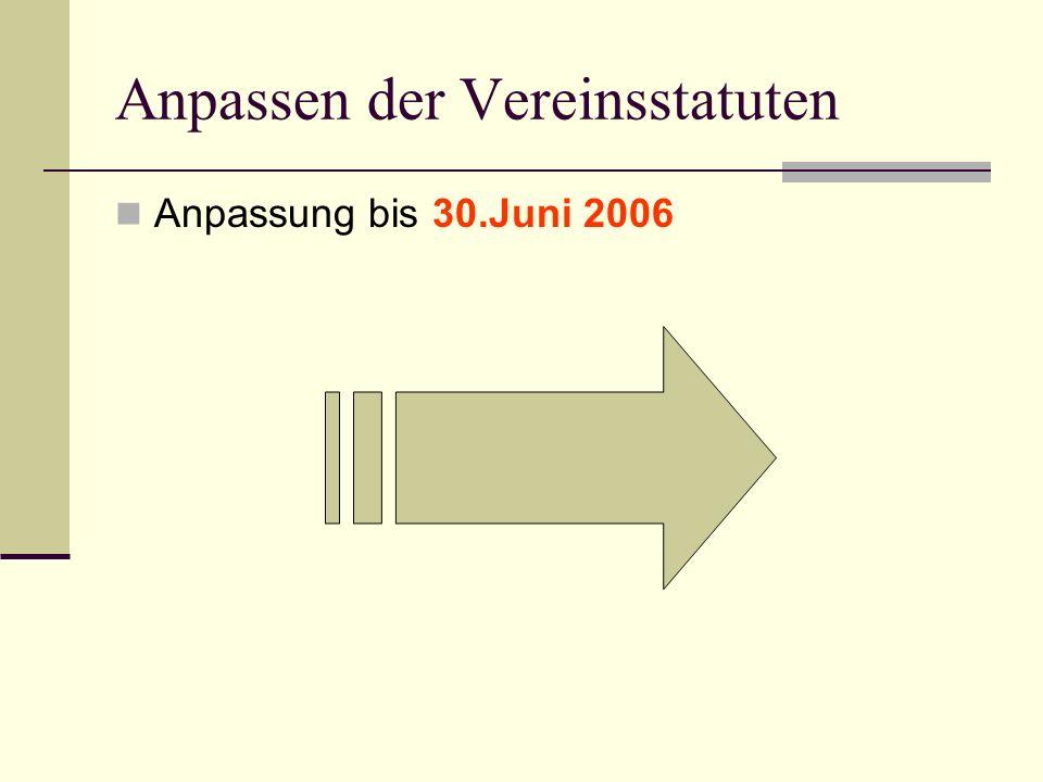 Anpassen der Vereinsstatuten Anpassung bis 30.Juni 2006