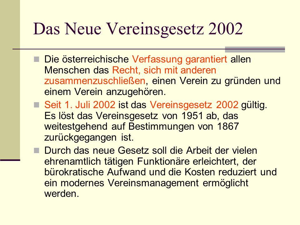 Das Neue Vereinsgesetz 2002 Die österreichische Verfassung garantiert allen Menschen das Recht, sich mit anderen zusammenzuschließen, einen Verein zu gründen und einem Verein anzugehören.