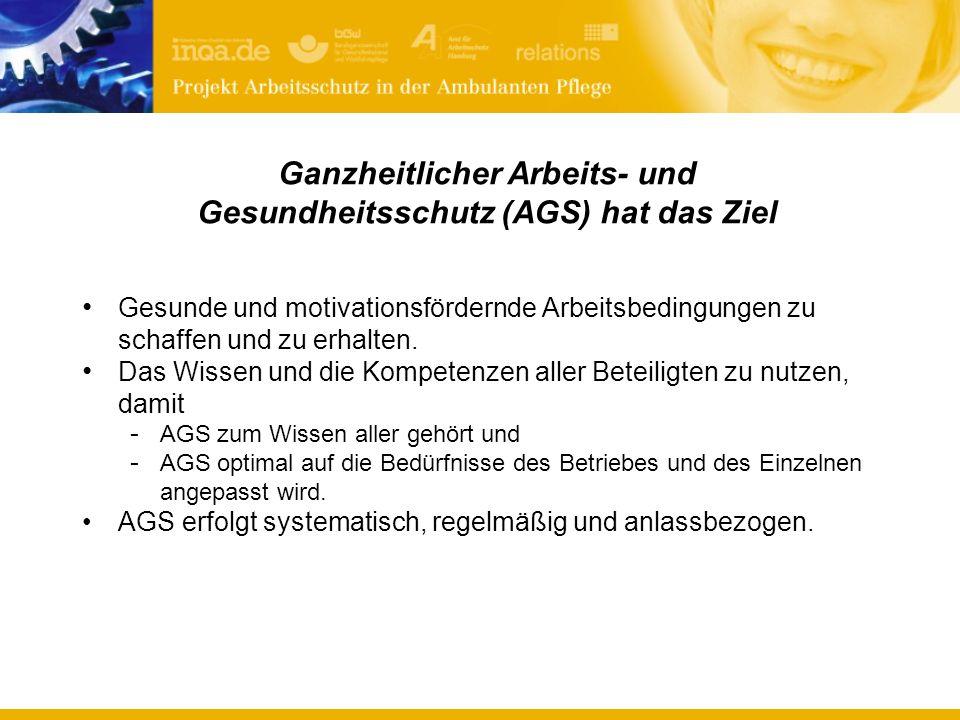 Ganzheitlicher Arbeits- und Gesundheitsschutz (AGS) hat das Ziel Gesunde und motivationsfördernde Arbeitsbedingungen zu schaffen und zu erhalten.