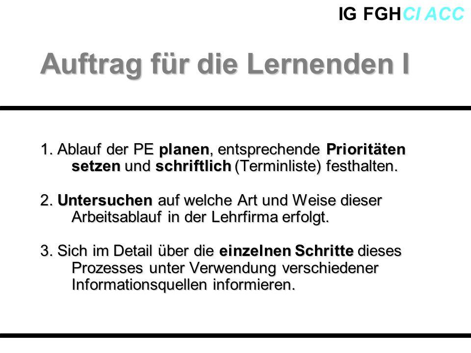 IG FGHCI ACC 1. Ablauf der PE planen, entsprechende Prioritäten setzen und schriftlich (Terminliste) festhalten. 2. Untersuchen auf welche Art und Wei