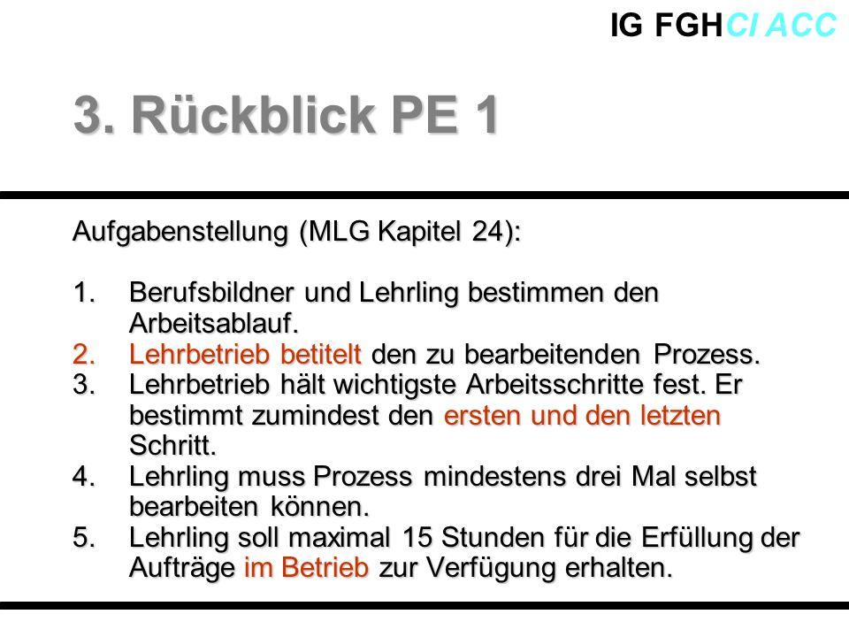 IG FGHCI ACC Aufgabenstellung (MLG Kapitel 24): 1.Berufsbildner und Lehrling bestimmen den Arbeitsablauf. 2.Lehrbetrieb betitelt den zu bearbeitenden