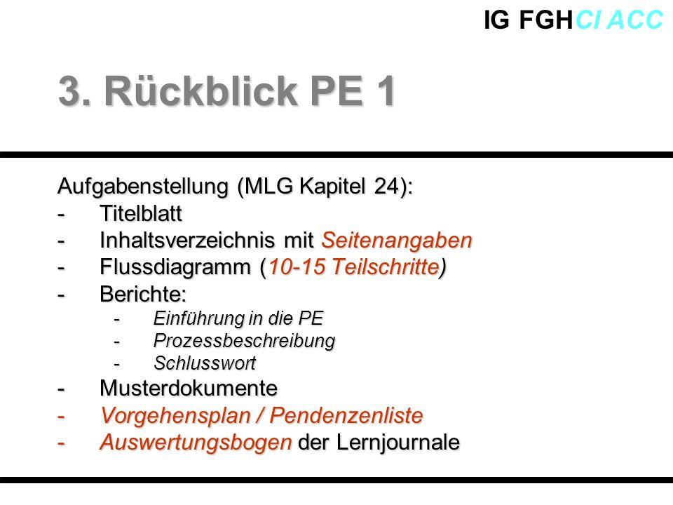 IG FGHCI ACC Aufgabenstellung (MLG Kapitel 24): -Titelblatt -Inhaltsverzeichnis mit Seitenangaben -Flussdiagramm (10-15 Teilschritte) -Berichte: -Einf