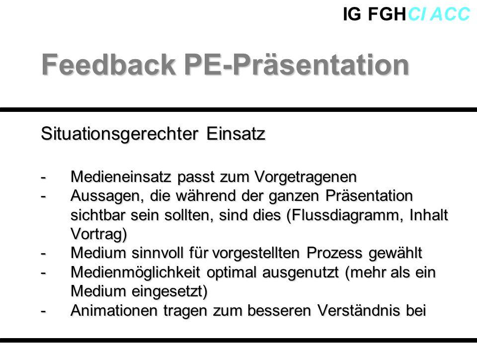 IG FGHCI ACC Situationsgerechter Einsatz -Medieneinsatz passt zum Vorgetragenen -Aussagen, die während der ganzen Präsentation sichtbar sein sollten,