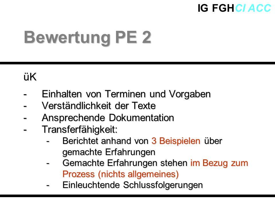 IG FGHCI ACCüK -Einhalten von Terminen und Vorgaben -Verständlichkeit der Texte -Ansprechende Dokumentation -Transferfähigkeit: -Berichtet anhand von
