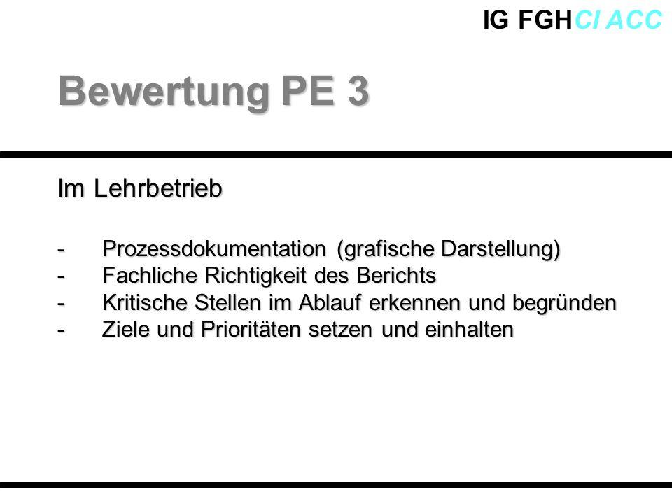 IG FGHCI ACC Im Lehrbetrieb -Prozessdokumentation (grafische Darstellung) -Fachliche Richtigkeit des Berichts -Kritische Stellen im Ablauf erkennen un