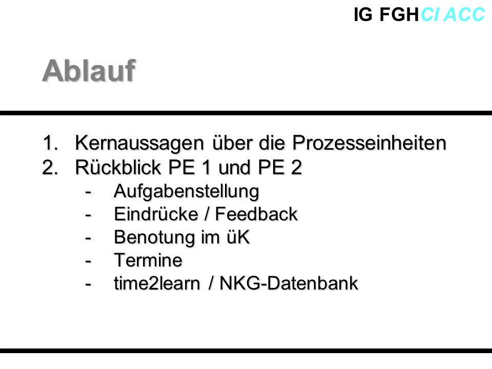 IG FGHCI ACC 1.Kernaussagen über die Prozesseinheiten 2.Rückblick PE 1 und PE 2 -Aufgabenstellung -Eindrücke / Feedback -Benotung im üK -Termine -time