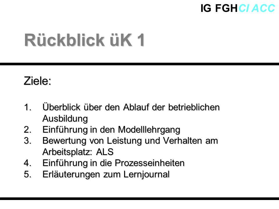 IG FGHCI ACCZiele: 1.Überblick über den Ablauf der betrieblichen Ausbildung 2.Einführung in den Modelllehrgang 3.Bewertung von Leistung und Verhalten