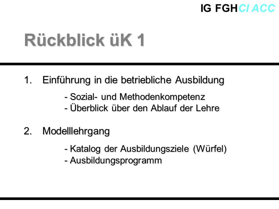 IG FGHCI ACC 1.Einführung in die betriebliche Ausbildung - Sozial- und Methodenkompetenz - Überblick über den Ablauf der Lehre 2. Modelllehrgang - Kat