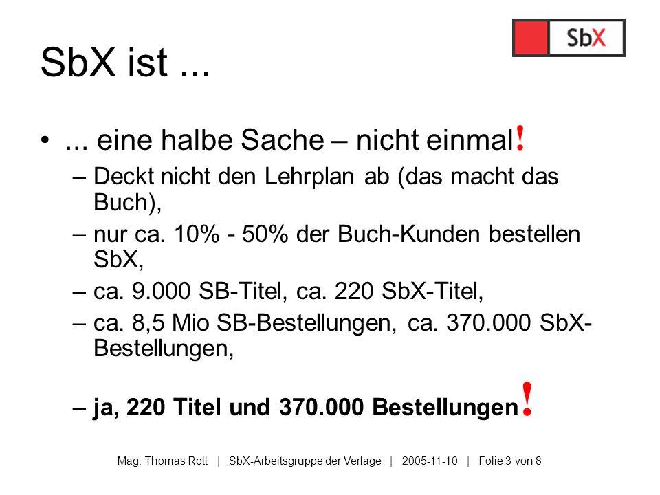 Mag. Thomas Rott | SbX-Arbeitsgruppe der Verlage | 2005-11-10 | Folie 3 von 8 SbX ist...... eine halbe Sache – nicht einmal ! –Deckt nicht den Lehrpla