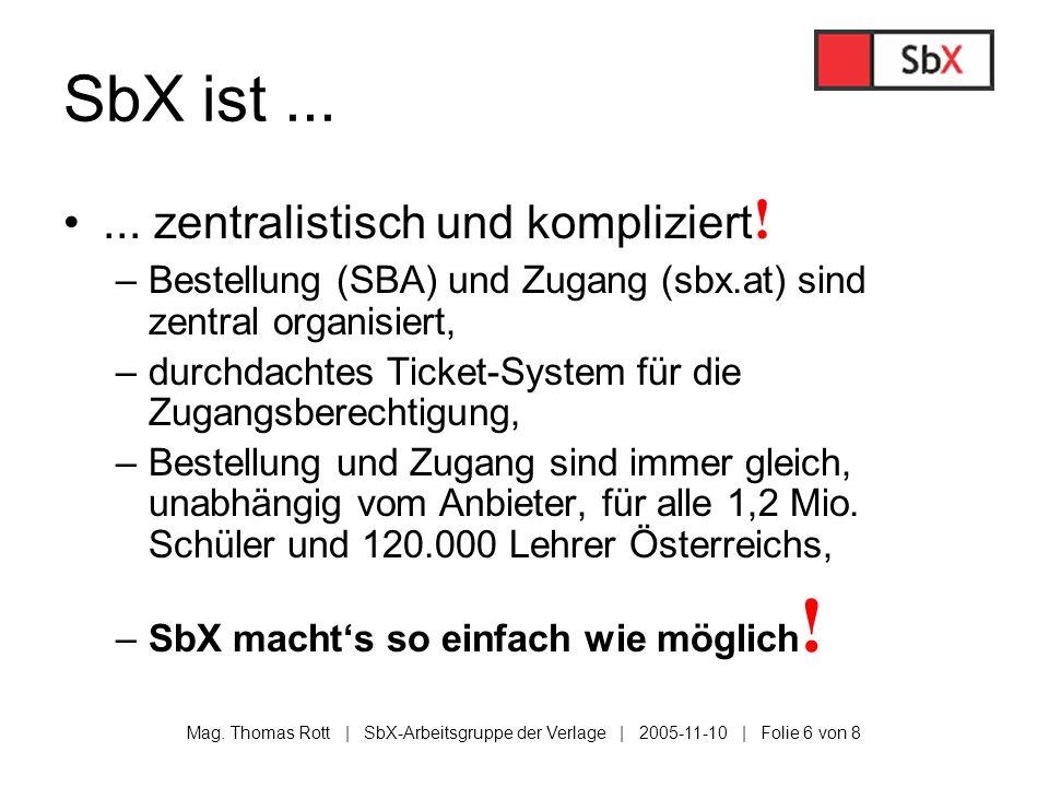 Mag. Thomas Rott | SbX-Arbeitsgruppe der Verlage | 2005-11-10 | Folie 6 von 8 SbX ist...... zentralistisch und kompliziert ! –Bestellung (SBA) und Zug