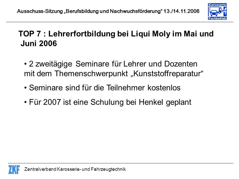 Zentralverband Karosserie- und Fahrzeugtechnik TOP 7 : Lehrerfortbildung bei Liqui Moly im Mai und Juni 2006 Ausschuss-Sitzung Berufsbildung und Nachwuchsförderung 13./14.11.2006 2 zweitägige Seminare für Lehrer und Dozenten mit dem Themenschwerpunkt Kunststoffreparatur Seminare sind für die Teilnehmer kostenlos Für 2007 ist eine Schulung bei Henkel geplant
