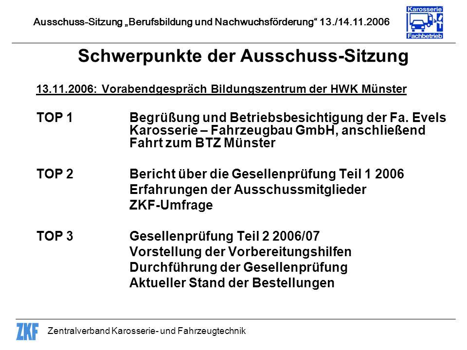 Zentralverband Karosserie- und Fahrzeugtechnik 14.11.2006: Sitzung im Bildungszentrum der Handwerkskammer Münster TOP 1Begrüßung TOP 2Vorstellung der Gesellenprüfungsaufgaben Teil 1 2007 und Beschlussfassung TOP 3Prüfungsvorbereitungshilfen für die Gesellenprüfung Teil 1 TOP 4Lehrlings- und Meisterstatistiken im Karosserie- und Fahrzeugbauer-Handwerk Ausschuss-Sitzung Berufsbildung und Nachwuchsförderung 13./14.11.2006