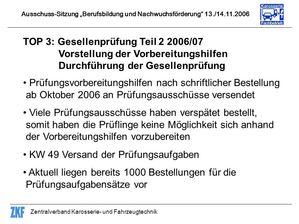 Zentralverband Karosserie- und Fahrzeugtechnik TOP 10: Qualifizierungsbausteine ZWH hat gemeinsam mit dem ZDK Qualifizierungsbausteine ohne Mitwirkung des ZKF ausgearbeitet, die mit Fehlern behaftet sind.