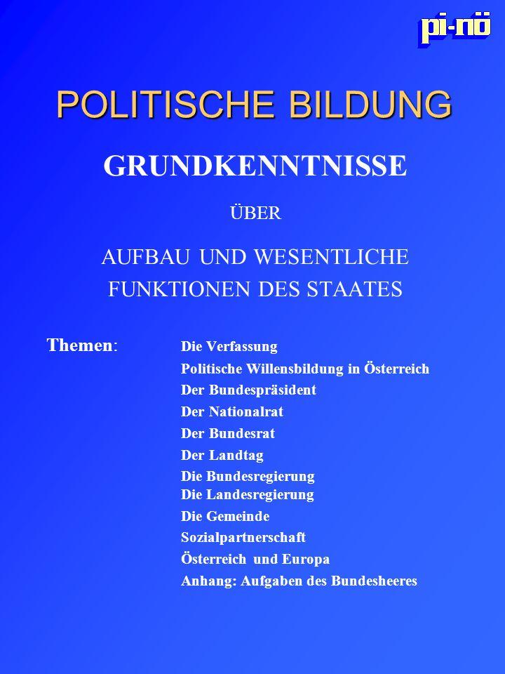 POLITISCHE BILDUNG GRUNDKENNTNISSE ÜBER AUFBAU UND WESENTLICHE FUNKTIONEN DES STAATES Themen: Die Verfassung Politische Willensbildung in Österreich D