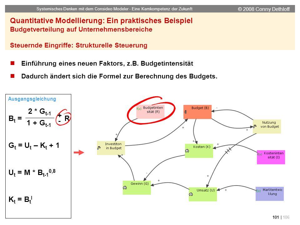 © 2008 Conny Dethloff Systemisches Denken mit dem Consideo Modeler - Eine Kernkompetenz der Zukunft 101 | 106 Quantitative Modellierung: Ein praktisch
