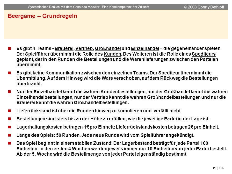 © 2008 Conny Dethloff Systemisches Denken mit dem Consideo Modeler - Eine Kernkompetenz der Zukunft 11 | 106 Es gibt 4 Teams - Brauerei, Vertrieb, Gro
