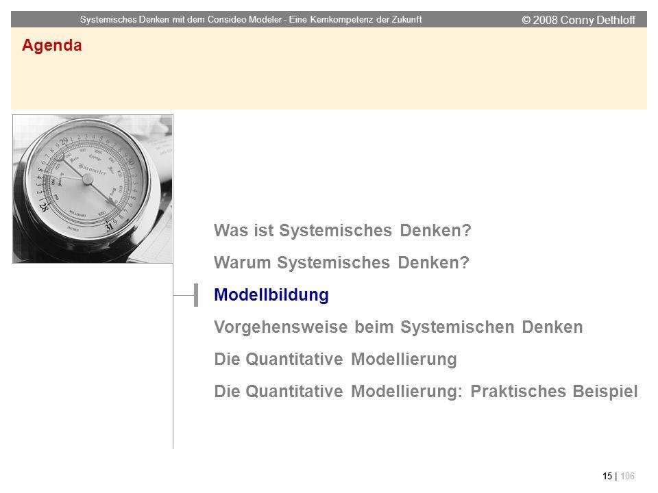 © 2008 Conny Dethloff Systemisches Denken mit dem Consideo Modeler - Eine Kernkompetenz der Zukunft 15 | 106 Agenda Was ist Systemisches Denken? Warum