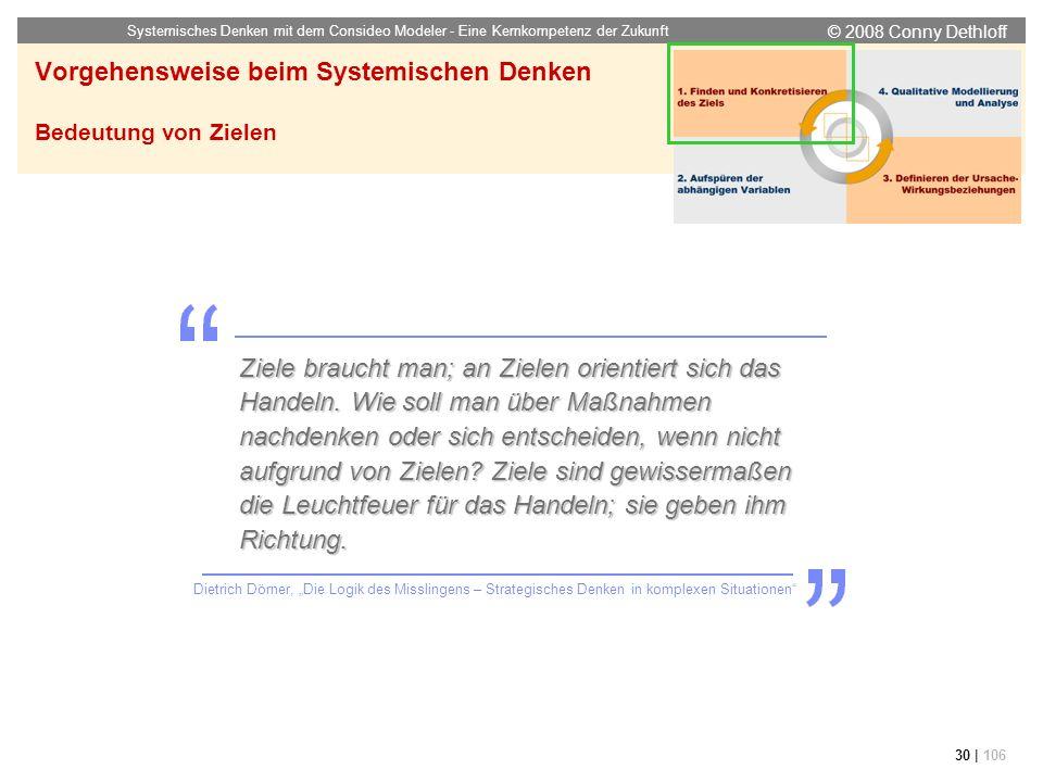 © 2008 Conny Dethloff Systemisches Denken mit dem Consideo Modeler - Eine Kernkompetenz der Zukunft 30 | 106 Vorgehensweise beim Systemischen Denken B