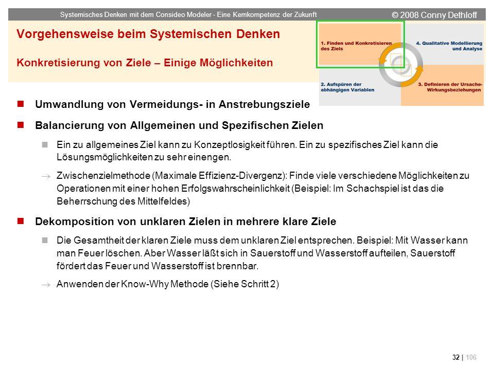 © 2008 Conny Dethloff Systemisches Denken mit dem Consideo Modeler - Eine Kernkompetenz der Zukunft 32 | 106 Vorgehensweise beim Systemischen Denken K
