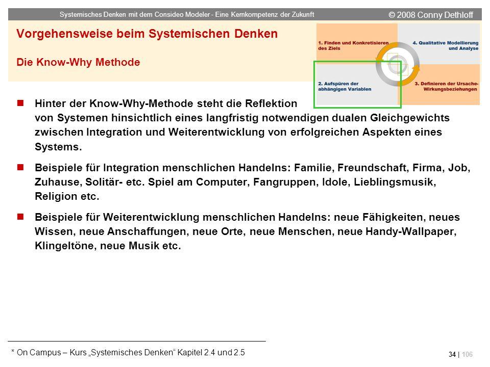 © 2008 Conny Dethloff Systemisches Denken mit dem Consideo Modeler - Eine Kernkompetenz der Zukunft 34 | 106 Vorgehensweise beim Systemischen Denken D
