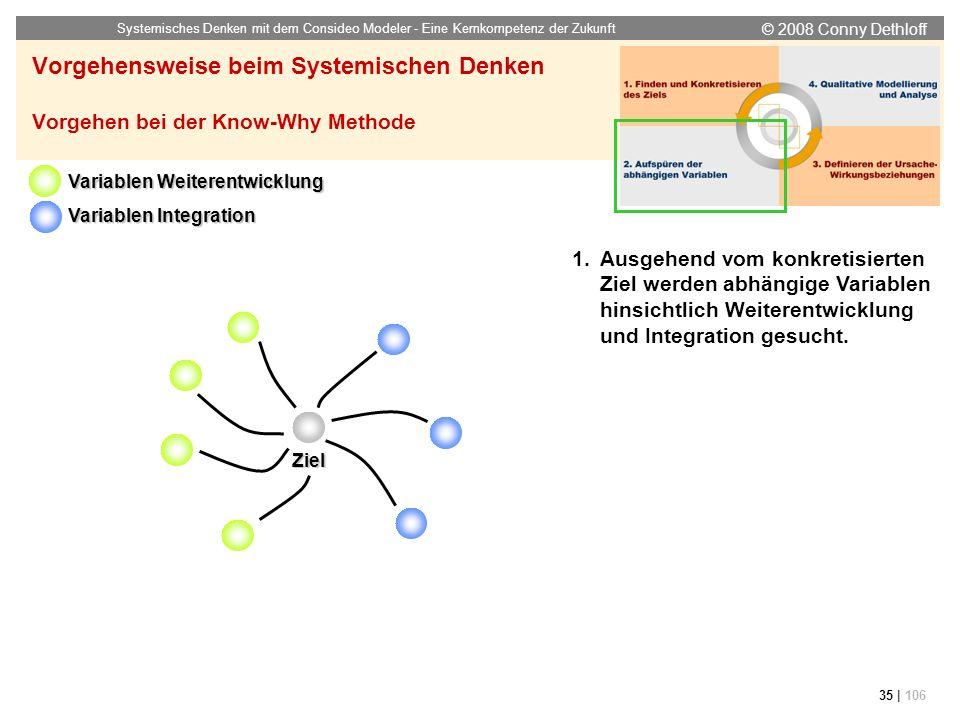 © 2008 Conny Dethloff Systemisches Denken mit dem Consideo Modeler - Eine Kernkompetenz der Zukunft 35 | 106 Vorgehensweise beim Systemischen Denken V