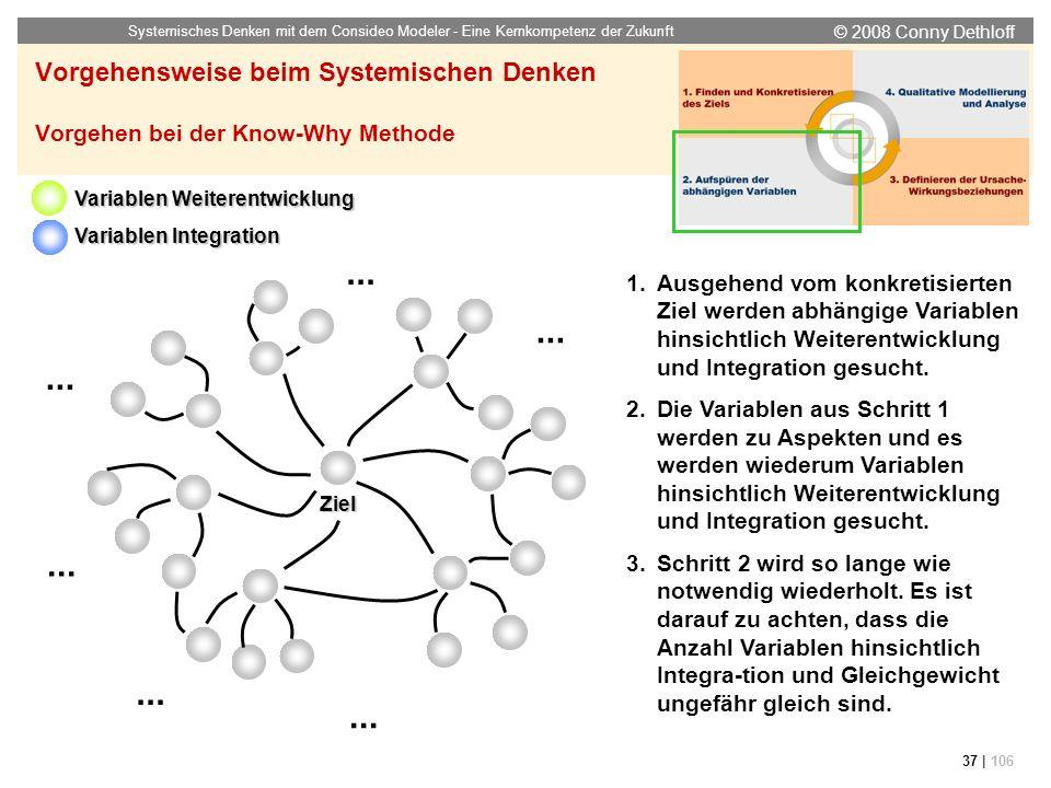 © 2008 Conny Dethloff Systemisches Denken mit dem Consideo Modeler - Eine Kernkompetenz der Zukunft 37 | 106 Vorgehensweise beim Systemischen Denken V