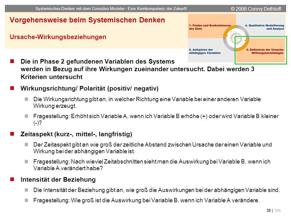 © 2008 Conny Dethloff Systemisches Denken mit dem Consideo Modeler - Eine Kernkompetenz der Zukunft 39 | 106 Vorgehensweise beim Systemischen Denken U