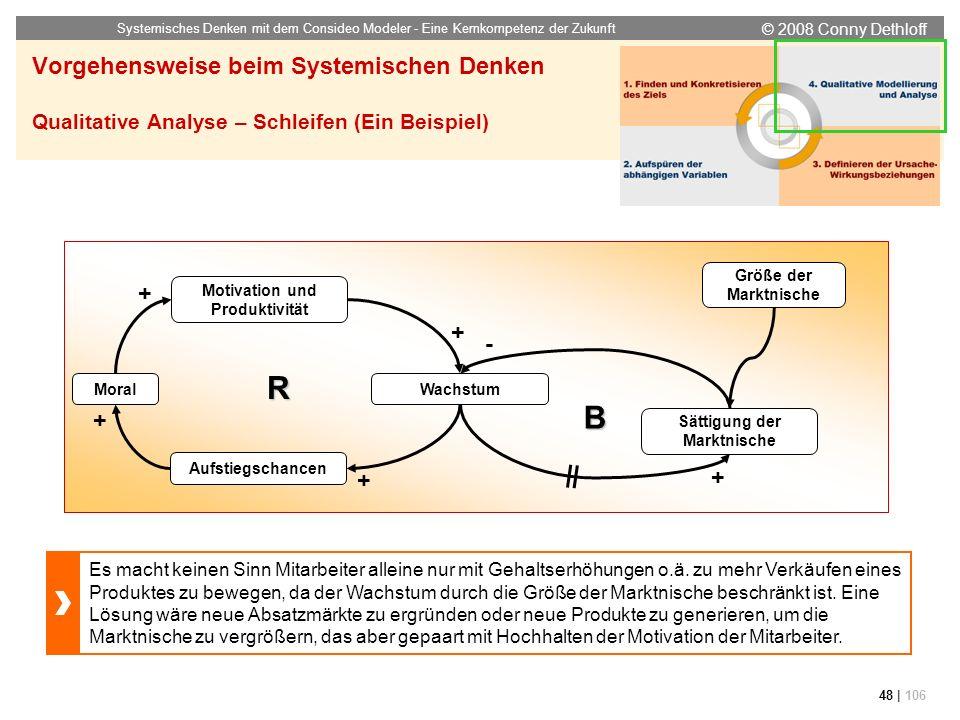 © 2008 Conny Dethloff Systemisches Denken mit dem Consideo Modeler - Eine Kernkompetenz der Zukunft 48 | 106 Vorgehensweise beim Systemischen Denken Q
